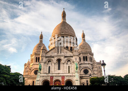 View of the Sacre Coeur church on top of Montmartre in Paris in France