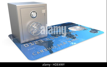 3D render of Blue Credit Card with a Steel Safe. Generic names and numbers, non branded. - Stock Photo