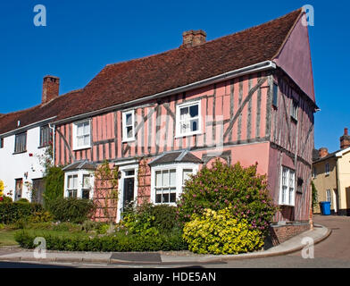 Crooked old timber framed house in the High Street, Lavenham, Suffolk, England - Stock Photo