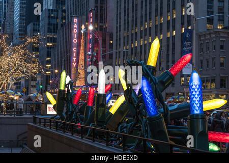 Giant Christmas Light Display, Rockefeller Center, NYC - Stock Photo