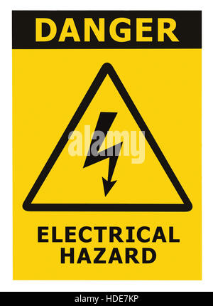 Danger Electrical Hazard Text, Yellow Triangle Sign Label, Isolated - Stock Photo