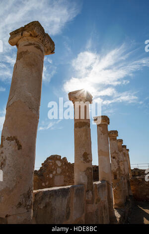 Roman columns around the forum, House of Theseus, Paphos Archaeological Park, Cyprus - Stock Photo
