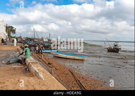 Low tide on Lamu waterfront - Stock Photo