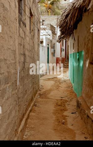 Narrow road in Lamu Old Town - Stock Photo