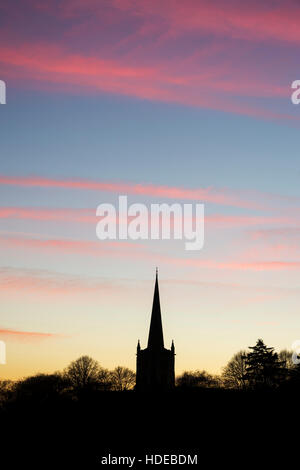 The Holy Trinity Church at sunset. Stratford upon Avon, Warwickshire, England. Silhouette - Stock Photo