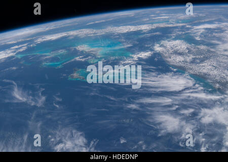 A satellite Earth observation image taken by the NASA International Space Station Expedition 47 crew shows the Florida - Stock Photo