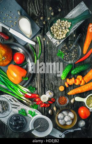 bell pepper tomato cucumber green onion garlic - Stock Photo
