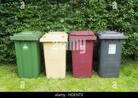 Bolton Council domestic waste and recycling bins for garden waste, food scraps, paper, card, cans,  bottles and - Stock Photo