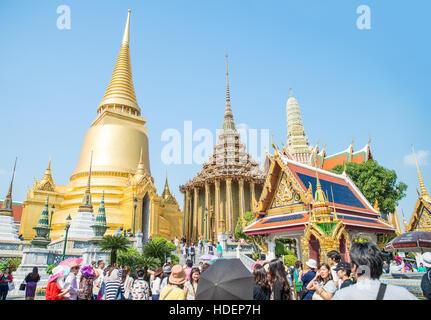 BANGKOK, THAILAND - MARCH 10, 2015: Tourists visit Chakri Maha Prasat, Royal Grand Palace on Aug 2, 14 in Bangkok. - Stock Photo