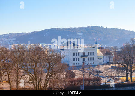 White castle in the park of Akershus fortress. Oslo, Norway. - Stock Photo