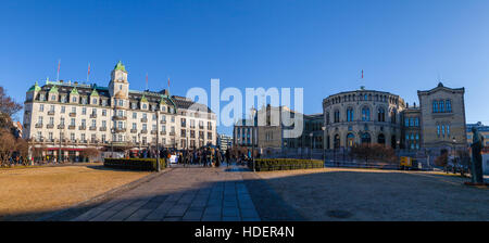 Parliament of Norway at the sunny day, panoramic view - Stock Photo