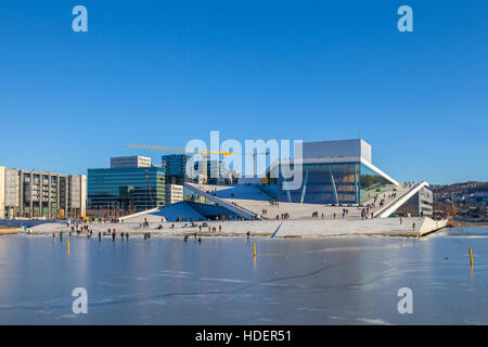 The Norwegian National Opera and Ballet, and the national opera theatre. Winter icy view. - Stock Photo