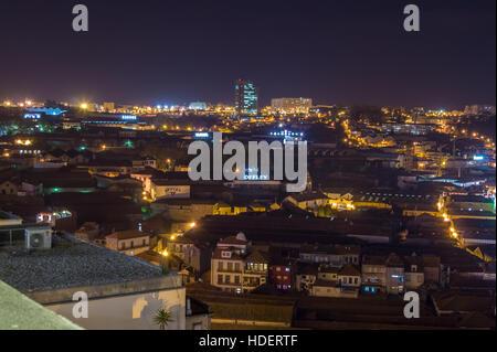 Port lodges, Vila Nova de Gaia, River Douro, Porto, Portugal, at dusk - Stock Photo