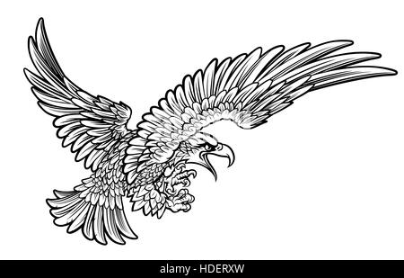 A bald or American eagle swooping from the side with claws or talons outstretched - Stock Photo