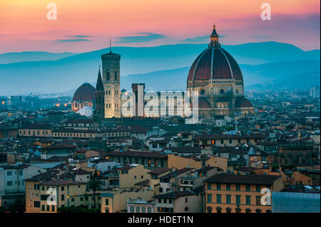 Cathedral in Florence Italy at sunset - Stock Photo