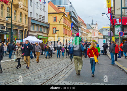 17 November, day of revolution, celebration, Narodni boulevard, Prague, Czech Republic - Stock Photo