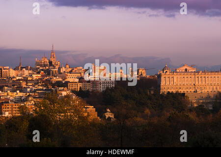 Madrid city skyline with Royal Palance at sunset, seen from Casa de Campo. - Stock Photo