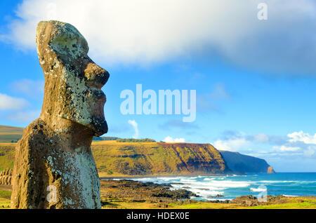 Closeup of large Moai at Ahu Tongariki on Easter Island, Chile - Stock Photo
