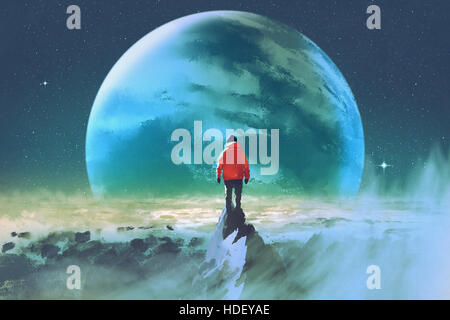 man on top of mountain looking at another planet,illustration painting - Stock Photo