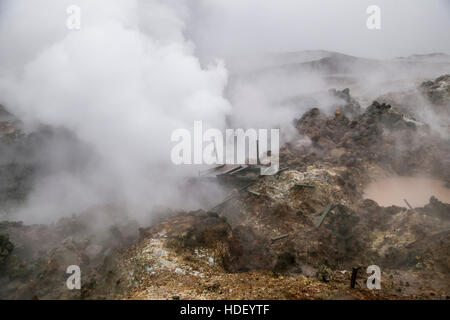 Gunnuhver mud pools and steam vents - Stock Photo