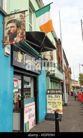 Belfast Falls Rd - Falls Rolls Cafe, Gerry Adams Sign with Tricolor Irish Flag - Stock Photo