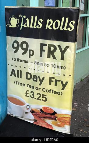 Belfast Falls Rd - Falls Rolls Cafe, the 99p Fry - Stock Photo