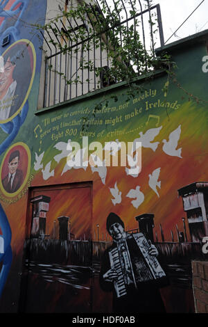 Belfast Falls Rd Rebublican Mural- 800 years of Crime - Stock Photo