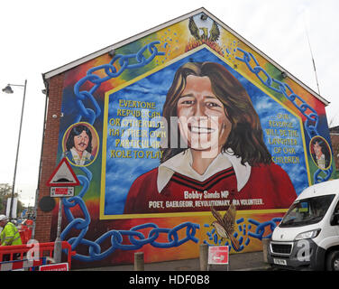 MP Bobby Sands - Belfast Falls Rd Rebublican Mural - Stock Photo