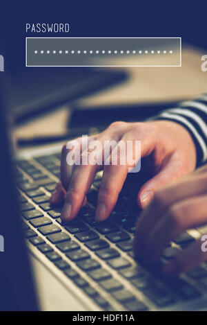 Password box in internet browser, online security with female hands typing on laptop computer keyboard  in office - Stock Photo