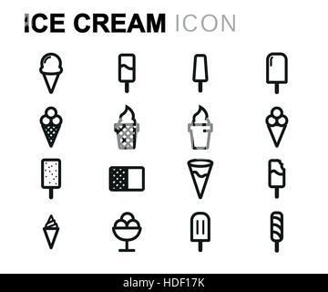 Vector line ice cream icons set - Stock Photo