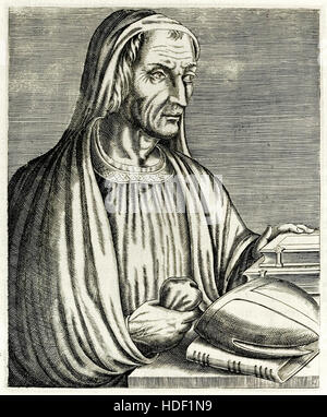 """Gregory of Tours (538-594) French historian and theologian who wrote """"Historia Francorum"""" from """"True Portraits…"""" - Stock Photo"""
