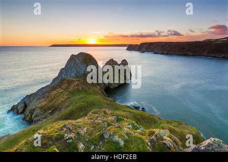 Three Cliffs Bay, Gower, Peninsula, Swansea, Wales, U.K. - Stock Photo