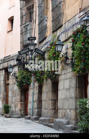 Las Cuevas De Luis Candelas. Old street full of traditional restaurants in Madrid, Spain including Tapas Restaurant, - Stock Photo