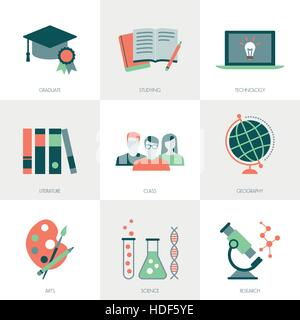 School, education, learning and studying icons set - Stock Photo