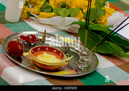 A Diwali thali (plate) with traditional puja (prayer) ingredients. Diwali is one of the biggest Indian festivals - Stock Photo