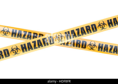 Biohazard Barrier Tapes, 3D rendering isolated on white background - Stock Photo