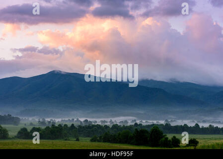 Morning view of the Great Smoky Mountains from Cades Cove with fog. - Stock Photo