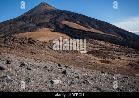 Path through eroded lava field and volcanic landscape of Teide volcano - Stock Photo
