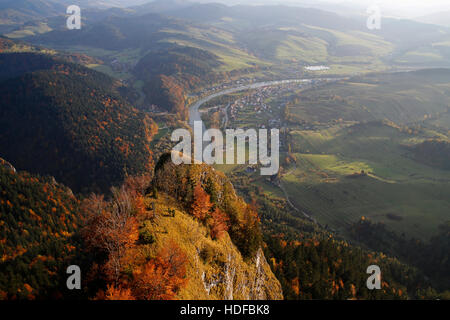 Panoramic view from Three Crowns peak in Pieniny Mountains, Poland - Stock Photo
