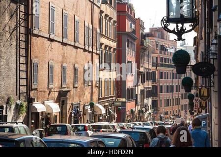 ROME, ITALY - NOVEMBER 1, 2016: people on Via Francesco Crispi in Rome. Francesco Crispi (4.10.1818 - 12.08.1901) - Stock Photo