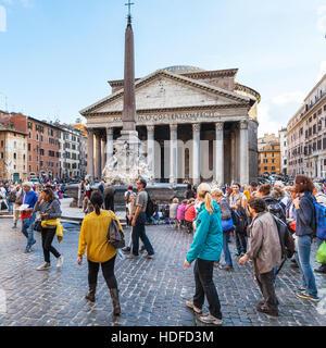 ROME, ITALY - NOVEMBER 1, 2016: people near Pantheon edifice on Piazza della Rotonda in Rome city. Pantheon is a - Stock Photo