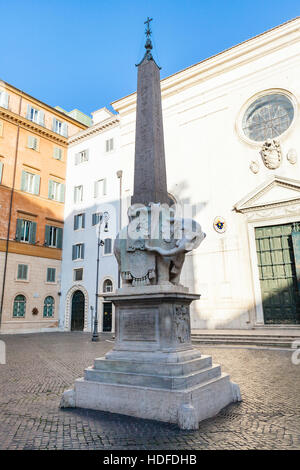 travel to Italy - Elephant and Obelisk by Bernini and Basilica of Saint Mary above Minerva (Church Santa Maria sopra - Stock Photo
