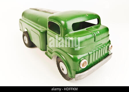 Old tin toy tanker - Stock Photo