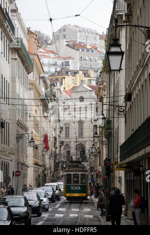 Street in the center of Lisbon, Portugal, Europe - Stock Photo