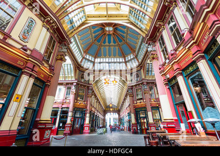 LONDON - Inside view of Leadenhall Market, Gracechurch Street, on August 25, 20116 in London, UK, The market dates - Stock Photo