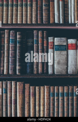 Old bookcase in library, - Stock Photo