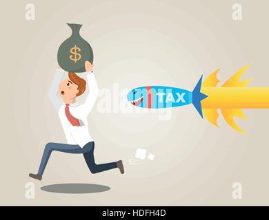Businessman running away from rocket tax - Stock Photo