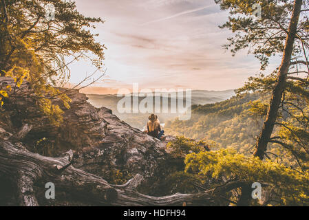 Woman in the wilderness - Stock Photo