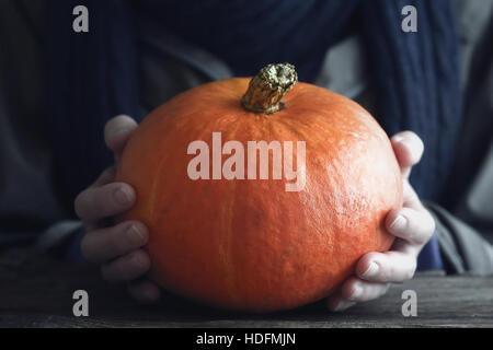 Orange pumpkin in the hand horizontal - Stock Photo