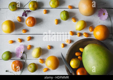 Citrus mix on the white wooden background - Stock Photo